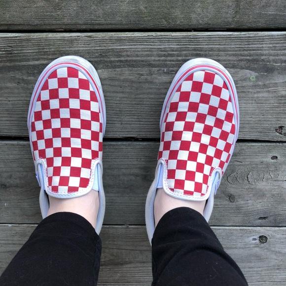 Red Checkered Vans Slip Ons | Poshmark